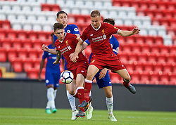 LIVERPOOL, ENGLAND - Tuesday, May 8, 2018: Liverpool's Adam Lewis (left) and Herbie Kane (right) challenge Chelsea's captain Ruben Sammut during the Under-23 FA Premier League 2 Division 1 match between Liverpool FC and Chelsea FC at Anfield. (Pic by David Rawcliffe/Propaganda)2