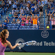 August 25, 2016, New Haven, Connecticut: <br /> Agnieszka Radwanska of Poland hits balls into the stands defeating Kirsten Flipkens during Day 7 of the 2016 Connecticut Open at the Yale University Tennis Center on Thursday, August  25, 2016 in New Haven, Connecticut. <br /> (Photo by Billie Weiss/Connecticut Open)