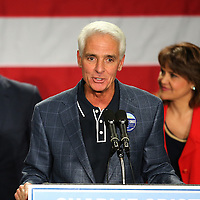Florida Democratic gubernatorial candidate Charlie Crist speaks to supporters as former president Bill Clinton and running mate Annette Taddeo listen during a campaign event at the UCF Arena on Monday, Nov. 3, 2014 in Orlando, Florida. (AP Photo/Alex Menendez)