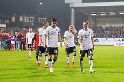29.05.2015, Holstein Stadion, Kiel, GER, 2. FBL, Holstein Kiel vs TSV 1860 Muenchen, Relegation, Hinspiel, im Bild Marius Wolf (Nr. 27, 1860 Muenchen), Christopher Schindler (Nr. 26, 1860 Muenchen), Korbinian Vollmann (Nr. 33, 1860 Muenchen) und Dominik Stahl (Nr. 6, 1860 Muenchen) nach dem Spiel auf dem Weg zu den Fans. // during the German 2nd Bundesliga relegation 1st Leg Match between Holstein Kiel and TSV 1860 Munich at the Holstein Stadion in Kiel, Germany on 2015/05/29. EXPA Pictures © 2015, PhotoCredit: EXPA/ Eibner-Pressefoto/ KOENIG<br /> <br /> *****ATTENTION - OUT of GER*****