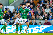 Sheffield Wednesday midfielder Massimo Luongo (21) tussles with Brighton & Hove Albion defender Leon Balogun (14) during the The FA Cup match between Brighton and Hove Albion and Sheffield Wednesday at the American Express Community Stadium, Brighton and Hove, England on 4 January 2020.