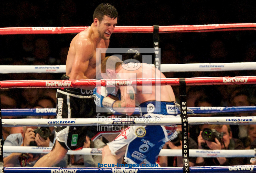 Carl Froch and George Groves  pictured during the Froch v Groves IBF World Super Middleweight title rematch at Wembley Stadium, London<br /> Picture by Alan Stanford/Focus Images Ltd +44 7915 056117<br /> 31/05/2014