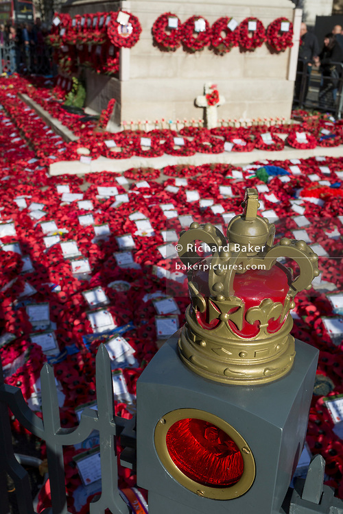 The many wreaths at the Centotaph left 2 two days after  Remembrance Sunday, commemorating the 100th anniversary of the WW1 armistice, on 13th November 2018, in London, England.