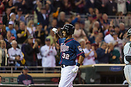 Aaron Hicks #32 of the Minnesota Twins celebrates after hitting his 2nd home run of the game against the Chicago White Sox on May 13, 2013 at Target Field in Minneapolis, Minnesota.  The Twins defeated the White Sox 10 to 3.  Photo: Ben Krause