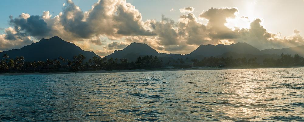 Panorama of the sunset at Kailua Beach, Koolau Mountain Range in the distance, Kailua Bay, Oahu, Hawaii