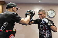 BIRMINGHAM, ENGLAND, NOVEMBER 2, 2011: Jason Young works on his striking at the media open work-out sessions inside the Hilton Hotel on November 2, 2011.