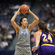 HARTFORD, CONNECTICUT- JANUARY 4: Napheesa Collier #24 of the Connecticut Huskies defended by Kristen Gaffney #24 of the East Carolina Lady Pirates during the UConn Huskies Vs East Carolina Pirates, NCAA Women's Basketball game on January 4th, 2017 at the XL Center, Hartford, Connecticut. (Photo by Tim Clayton/Corbis via Getty Images)