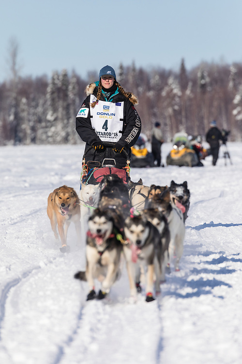 Musher Anna Berington after the restart in Willow of the 46th Iditarod Trail Sled Dog Race in Southcentral Alaska.  Afternoon. Winter.