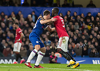 Football - 2019 / 2020 Premier League - Chelsea vs. Manchester United<br /> <br /> Cesar Azpilicueta (Chelsea FC) holds and blocks the run of Eric Bailly (Manchester United) at Stamford Bridge <br /> <br /> COLORSPORT/DANIEL BEARHAM