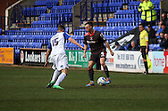Tranmere Rovers' Jake Kirby looks to halt Carlisle United&rsquo;s Chris Chantler. Skybet football league 1 match, Tranmere Rovers v Carlisle United at Prenton Park in Birkenhead, England on Saturday 29th March 2014.<br /> pic by Chris Stading, Andrew Orchard sports photography.