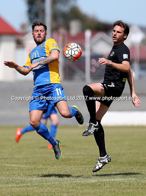 Andy Mulligan (L) of Southern and Leonardo Villa of Wellington compete for the ball during the Stirling Sports Premiership football match, Southern v Wellington, Rugby Park Stadium, Invercargill, New Zealand, Sunday, February 19, 2017. © Copyright photo: Dianne Manson / www.photosport.nz