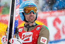31.01.2016, Casino Arena, Seefeld, AUT, FIS Weltcup Nordische Kombination, Seefeld Triple, Skisprung, Wertungssprung, im Bild Wilhelm Denifl (AUT) // Wilhelm Denifl of Austria reacts after his Competition Jump of Skijumping of the FIS Nordic Combined World Cup Seefeld Triple at the Casino Arena in Seefeld, Austria on 2016/01/31. EXPA Pictures © 2016, PhotoCredit: EXPA/ Jakob Gruber