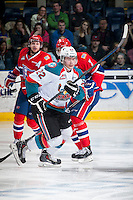 KELOWNA, CANADA - MARCH 7: Chance Braid #22 of Kelowna Rockets skates against the Spokane Chiefs on March 7, 2015 at Prospera Place in Kelowna, British Columbia, Canada.  (Photo by Marissa Baecker/Shoot the Breeze)  *** Local Caption *** Chance Braid;
