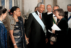 NELSON ROLIHLAHLA MANDELA (July 18, 1918 - December 5, 2013) world renowned civil rights activist and world leader dies at 95. Mandela emerged from prison to become the first black President of South Africa in 1994. As a symbol of peacemaking, he won the 1993 Nobel Peace Prize. Joined his countries anti-apartheid movement in his 20s and then the ANC (African National Congress) in 1942. For next 20 years, he directed a campaign of peaceful, non-violent defiance against the South African government and its racist policies and for his efforts was incarcerated for 27 years. PICTURED: Mar 17, 1999 - Sweden - NELSON MANDELA chats with Swedish psychologist LISBET PALME. (Credit Image: © Aftonbladet/IBL/ZUMAPRESS.com)