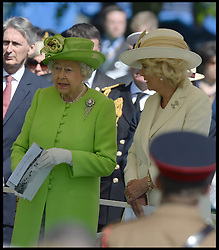 Image ©Licensed to i-Images Picture Agency. 06/06/2014. Bayeux, France, HM The Queen and The Duke of Edinburgh accompanied by The Prince of Wales and The Duchess of Cornwall attend a service of Remembrance at the Commonwealth War Graves Cemetery at Bayeux, Normandy, France,  on the 70th anniversary of D-Day.  Picture by Andrew Parsons / i-Images