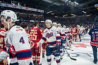 REGINA, SK - MAY 27: The Regina Pats shake hands with the Acadie-Bathurst Titan  at Brandt Centre - Evraz Place on May 27, 2018 in Regina, Canada. (Photo by Marissa Baecker/CHLImages)