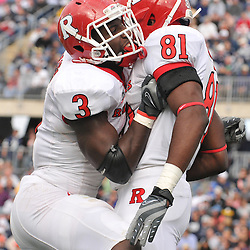 Oct 31, 2009; East Hartford, CT, USA; Rutgers wide receiver Mark Harrison (81) celebrates his first career touchdown reception with tight end Shamar Graves (3) during first half Big East NCAA football action between Rutgers and Connecticut at Rentschler Field.