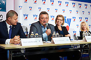 (L-R) Piotr Szkielkowski and Krzysztof Kowal and Dorota Haller and Monika Malek during press conference of Polish Tennis Association before Fed Cup match at National Stadium in Warsaw, Poland.<br /> <br /> Poland, Warsaw, December 15, 2014<br /> <br /> Picture also available in RAW (NEF) or TIFF format on special request.<br /> <br /> For editorial use only. Any commercial or promotional use requires permission.<br /> <br /> Mandatory credit:<br /> Photo by © Adam Nurkiewicz / Mediasport
