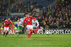 Simon Church of Wales scores a penalty - Mandatory by-line: Dougie Allward/JMP - Mobile: 07966 386802 - 24/03/2016 - FOOTBALL - Cardiff City Stadium - Cardiff, Wales - Wales v Northern Ireland - Vauxhall International Friendly