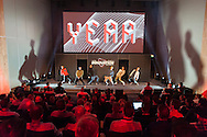 Dancers are pictured on stage to showcase new sports fashion wear. The performance was part of a Nike / Intersport GTM held at The Bella Center in Copenhagen, Denmark<br />