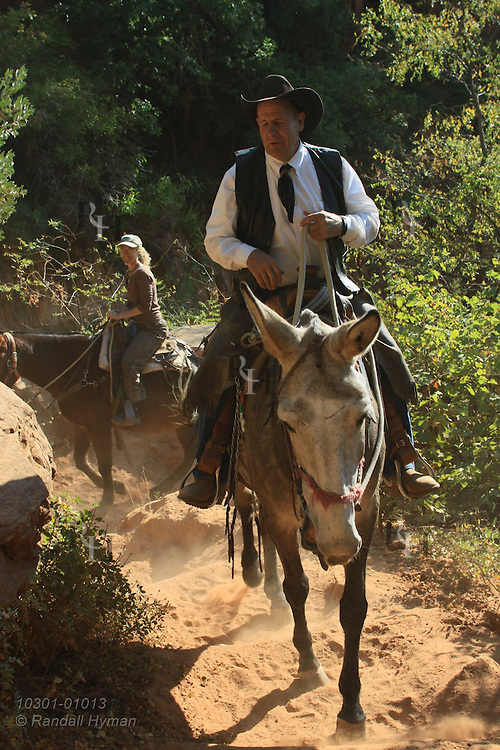 Mule ride on the North Kaibab Trail down to Supai Tunnel; Grand Canyon National Park, Arizona.