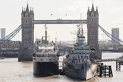 © Licensed to London News Pictures. 12/09/2017. LONDON, UK.  THV Galatea has arrived in London and is moored next to HMS Belfast in front of Tower Bridge for London International Shipping Week. THV Galatea is a Trinity House multi-function ship, designed to carry out marine operations as part of their duty as the General Lighthouse Authority for England, Wales, the Channel Islands and Gibraltar. An estimated 15,000 shipping industry leaders are expected to attend events in London and on board the THV Galatea during International Shipping Week this week. Photo credit: Vickie Flores/LNP