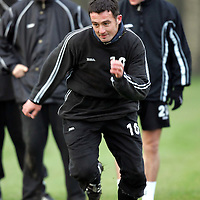 St Johnstone training...14.12.04<br />David Hannah in a sprint race<br /><br />Picture by Graeme Hart.<br />Copyright Perthshire Picture Agency<br />Tel: 01738 623350  Mobile: 07990 594431