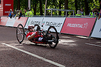 The winner crosses the finish line at the Hand Cycling Race during The Prudential RideLondon Sunday 2nd August 2015. <br /> <br /> Prudential RideLondon is the world's greatest festival of cycling, involving 95,000+ cyclists – from Olympic champions to a free family fun ride - riding in five events over closed roads in London and Surrey over the weekend of 1st and 2nd August 2015. <br /> <br /> Photo: Paul Gregory<br /> <br /> See www.PrudentialRideLondon.co.uk for more.<br /> <br /> For further information: Penny Dain 07799 170433<br /> pennyd@ridelondon.co.uk