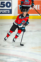 KELOWNA, BC - DECEMBER 18: Pavel Novak #11 of the Kelowna Rockets warms up on the ice with the puck against the Vancouver Giants at Prospera Place on December 18, 2019 in Kelowna, Canada. (Photo by Marissa Baecker/Shoot the Breeze)