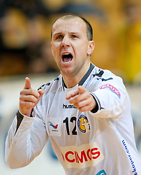 Gorazd Skof of Koper celebrates during handball match between RK Cimos Koper and RK Gorenje Velenje of Slovenian Cup 2011/2012, on November 30, 2011 in Arena Bonifika, Koper, Slovenia. Cimos Koper defeated Gorenje Velenje 27-21 and qualified to quarterfinals. (Photo By Vid Ponikvar / Sportida.com)