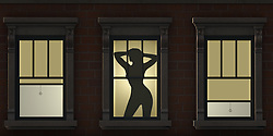 Silhouette of a sexy female in an urban window