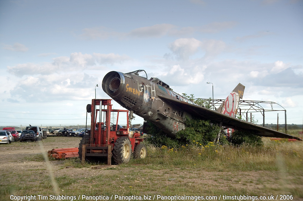 RAF; Fighter; Aircraft; Lightning; Airplane; Aeroplane; Abandoned; Vandalised; Graffitied; Graffiti; Wrecked; Ruined; Upended, English Electric; Balderton, Nottinghamshire;