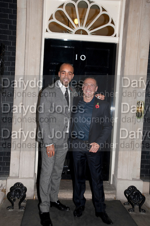 PAUL MURASHE; STEPHAN GUICHETEAU, Streetsmart Reception at 11 Downing St. London. 1 November 2011. <br /> <br />  , -DO NOT ARCHIVE-&copy; Copyright Photograph by Dafydd Jones. 248 Clapham Rd. London SW9 0PZ. Tel 0207 820 0771. www.dafjones.com.