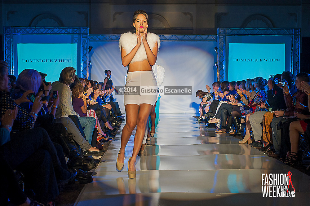 FASHION WEEK NEW ORLEANS: Designer Dominique White show case her fashion design on the runway at the Board of Trade, Fashion Week New Orleans on Wednesday March 19. 2014. #FWNOLA, #FashionWeekNOLA, #Design #FashionWeekNewOrleans, #NOLA, #Fashion #BoardofTrade, #GustavoEscanelle, #TraceeDundas #DominiqueWhite<br /> View more photos at http://Gustavo.photoshelter.com.