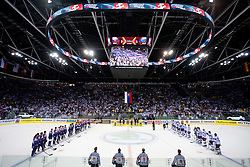 Teams of Slovenia and Slovakia after the ice-hockey match between Slovakia and Slovenia of Group A of IIHF 2011 World Championship Slovakia, on April 29, 2011 in Orange Arena, Bratislava, Slovakia. Slovakia defeated Slovenia 3-1. (Photo By Vid Ponikvar / Sportida.com)