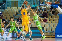 Jure Balazic of Slovenia vs Aleksandr Lypovyy of Ukraine during friendly basketball match between National teams of Slovenia and Ukraineat day 1 of Adecco Cup 2015, on August 21 in Koper, Slovenia. Photo by Grega Valancic / Sportida