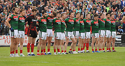 Mayo Line up for the national anthem, McHale Park Castlebar.<br />