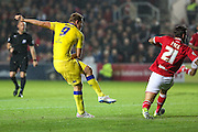 Leeds Chris Wood scores their 2nd goal during the Sky Bet Championship match between Bristol City and Leeds United at Ashton Gate, Bristol, England on 19 August 2015. Photo by Shane Healey.