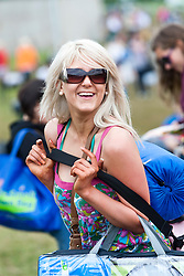 Fans arrive at the entrance to the T in the Park site on Friday 8th July 2011. T in the Park 2011 music festival takes place from 7-10th July 2011 in Balado, Fife, Scotland..©Pic : Michael Schofield.