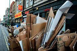 UK ENGLAND LONDON 15MAR07 - Litter bin and cardboard waste in Brick Lane, East London...jre/Photo by Jiri Rezac..© Jiri Rezac 2007..Contact: +44 (0) 7050 110 417.Mobile:  +44 (0) 7801 337 683.Office:  +44 (0) 20 8968 9635..Email:   jiri@jirirezac.com.Web:    www.jirirezac.com..© All images Jiri Rezac 2007 - All rights reserved.