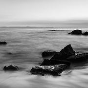 Shoreline Rocks - Woods Cove - South Laguna Beach - Dusk - Black & White