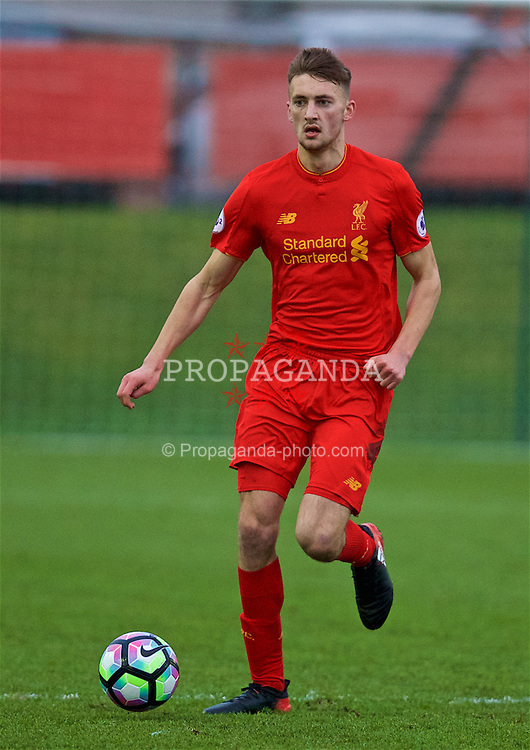 KIRKBY, ENGLAND - Tuesday, January 10, 2017: Liverpool's Nathan Phillips in action against Barnet during an Under-23 friendly match at the Kirkby Academy. (Pic by David Rawcliffe/Propaganda)