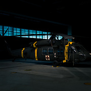 UH-60 Medevac Helicopter in the hangar at daybreak. Camp Humphreys, South Korea
