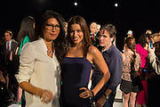 Designer Monika Chiang poses with Mercedes Marsöhn at the Spring 2013 Fashion Week show in New York.