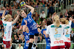 Sasann Muller #20 of Krim during handball match between RK Krim Mercator (SLO) and Larvik HC (NOR) in second game of semi final of EHF Women's Champions League 2012/13 on April 13, 2013 in Arena Stozice, Ljubljana, Slovenia. (Photo By Urban Urbanc / Sportida)