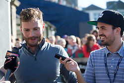 Jamie Dornan speaks to the press after his match. Alfred Dunhill Links Championship this afternoon at St Andrews.