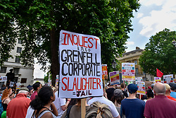 © Licensed to London News Pictures. 17/06/2017. London, UK. Demonstrators gather outside Downing Street to protest against Theresa May following the results of the General Election, the Conservatives' proposed coalition with the DUP and the Grenfell Tower fire tragedy. Photo credit : Stephen Chung/LNP