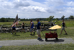 July 1, 2017 - Gettysburg, Pennsyvlania, United States - Members of patriotic groups assemble for a rally in reaction to a rumored left-wing confederate flag burning, at the historic site of the Battle of Gettysburg, in Gettysburg, Pennsylvania, on July 1st, 2017. Patriotic activist, including Sons of the Confederate Veterans and Real 3% Risen, staged multiple free speech rallies opposing a rumored anti-fascist confederate flag burning on the 154th anniversary of the historic Civil War battle at Gettysburg National Military Park, in Gettysburg, Pennsylvania, on July 1st, 2017. (Credit Image: © Bastiaan Slabbers/NurPhoto via ZUMA Press)
