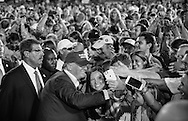 Aug. 21. 2015 Mobile, AL, Republican presidential candidate and business mogul Donald Trump mixes it up with fans at  a campaign pep rally in Ladd Peebles Stadium. Over 20 thousand came to the Ladd-Peebles Stadium to attend Trumps campaign pep rally. People were asked not to bring signs.