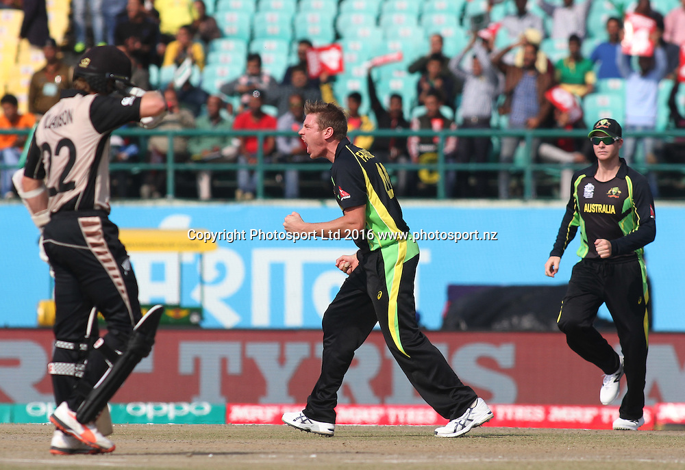Australia celebrate a wicket during the World T20, 17th Match, Super 10 Group 2: Australia v New Zealand at Dharamsala, Mar 18, 2016, Copyright photo: www.photosport.nz